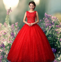 2016 New Arrival Sweetheart White Red Ball Gown Wedding Dres...
