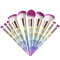Vente chaude New Mermaid Makeup brushes définit cosmétiques pinceau 10 couleur lumineuse spirale tige 3D Coloré vis maquillage outils DHL Ship
