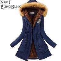 All'ingrosso-Autunno caldo inverno giacca donna moda collo di pelliccia delle donne cappotti Giacche per Lady Long Slim Down Parka Hoodies Parka