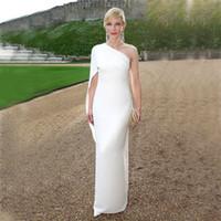 Elegante marfim branco chiffon vestidos de noite desgaste simples barato um ombro vestido de tapete vermelho feito sob encomenda feitos sob encomenda