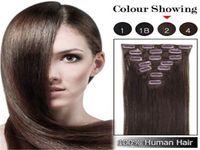 """Pelo humano brasileño clip recto en extensiones del cabello 7PCS cabeza completa fijó 16 """"-22"""" multiplicar los colores del envío rápido"""