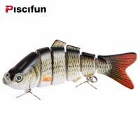 Piscifun Señuelo de la pesca 10 cm 20 g Ojos 3D 6 segmentos Segmento realista Pesca Señuelo duro Crankbait con 2 ganchos de cebos de pesca Pesca Cebo