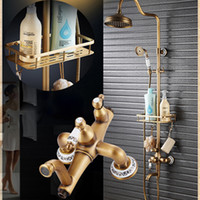 Antique Brass Shower Mixer Valve Set One Handle with Storage...