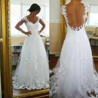 Ready To Ship Cap Sleeve Sweep Train Tulle Wedding Dress See...