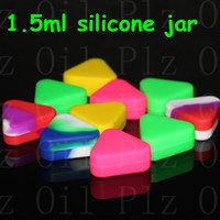 도매 삼각형 실리콘 왁스 컨테이너 유리 오일 shatter 1.5ml DAB 항아리 건조 허브 농축 부탄 해시 실리콘 봉수 파이프