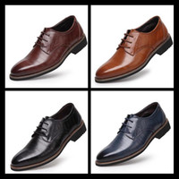2017 100% Genuine Leather Mens Dress Shoes High Quality Oxfo...