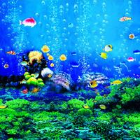 Blue Ocean World Pod morzem Dzieci Dzieci fotografia Tło Tkaniny Winylowe Ryby Zielone Algi Akwarium Tło Dla Studio