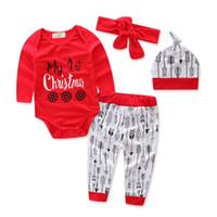 Bebek Noel Giyim Setleri Yeni Sonbahar Mektup Şerit Baskılı Pijama Çocuk Erkek Kız Uzun Kollu Karikatür Romper + Pantolon + Şapka + Kafa Setleri