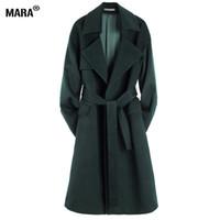 Toptan-Yeni Kış Kadın Uzun Yün Ceket Gevşek 2016 Yeni Moda Artı Boyutu Turn-down Yaka Yün Trençkot Ceket Giyim Manteau Femme