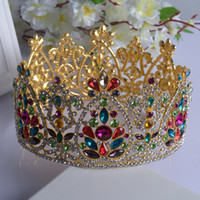 2016 New Colorful Bridal Tiaras Crowns Crystal Rhinestone Pa...