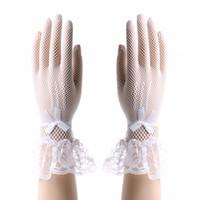 2017newWomen Lady Lace Luvas Cat Bowknot Partido Prom Noiva Mittens de pulso