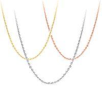 925 Gümüş Kolye DIY Kolye Gümüş Kadın Takı Çapraz Zincir Beyaz Altın Parlak Altın Gül Ince Moda Genişletmek Zincirleri 40 + 5 cm 6 adet