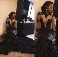 Styl South Afria Black Girl Dresses 2016 Sexy See przez Koronki Aplikacja Syrenka Suknie Wieczorowe Ruched Sweep Pociąg Formalne Dresses