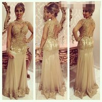 Sexy Long Evening Dresses High Neck Long Sleeve Lace Beads F...