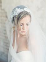 Новое качество Лучшая продажа романтическая свадьба вуаль двухслойных порезов Edge Applices Bridal вуали знаменитости свадебное платье свадебные аксессуары для свадьбы