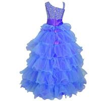 2017 고품질의 정의는 작은 여자 미인 드레스 드레스 계층 구슬 공식 드레스 섬세한 어린 소녀 첫번째 거룩한 친교 드레스
