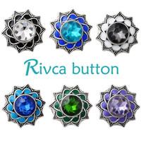 Оптовая продажа-D02688 горячая Оптовая Rivca Snap Button BraceletBangles красочные горный хрусталь браслет для женщин 18 мм Оснастки кнопка ювелирные изделия