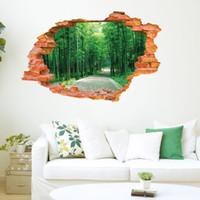 2016 كبير الجدار ملصق شجرة الغابات المشهد 3d الطوب الشارات غرفة المعيشة الديكور الفينيل جدار الفن ديكور المنزل