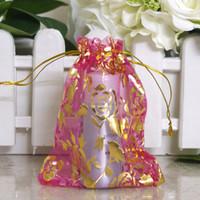 100 piezas de oro rosa Organza Bolsas de embalaje Bolsas de joyería Favores de la boda Bolsa de regalo de la fiesta de Navidad 9 x 12 cm (3.6 x 4.7 pulgadas)