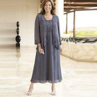 Mousseline grise Mère des robes de mariée Short 2019 Collier carré PLUS Taille Robes de soirée Tea-Longueur Veste gratuite sur mesure