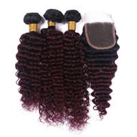 Weinrot Ombre Deep Wave Haarbündel mit Spitzenverschluss Free Middle Part # 1B 99J Burgunder Haarbündel mit Spitzenverschluss für die Frau