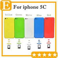 Orijinal logosu + Araçları ile iPhone 5C için yan Düğmeler + Sim Tepsi ile tamamlayın Tam Set Geri Konut Pil Kapı Kapağı Orta Çerçeve