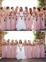Staubige rosa brautjungfern kleid kleider eine schulter vestido de festa long 2017 a-line natürliche taille v neck ärmellos geraubt elegant