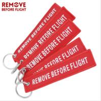 Funny Creative Fabric Key Ring Remove Before Flight Keychain Pilot Bag Crew Tag Luggage Keyring