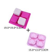 Quadrado 4 Cube Silicone Soap Baking Molde Da Bandeja + Gato 4 Cubo Quadrado Soap Mold, Bakeware Pastelaria Bolo Moldes de Cozinha Ferramentas de Cozinha