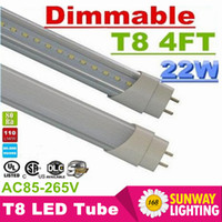 4FT T8 Regulable Tubos Led Luces Super Brillantes 22W 90LM / W 1.2m G13 T8 Led Lámpara de Tubo Fluorescente CA 110-240V Listado UL