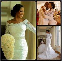 Nova Moda Nigeriana 3/4 Manga Longa Applique Lace Sereia vestidos de casamento com cristais fora do ombro vestido nupcial