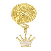 Hip Hop Collier Pendentif Or Plaqué Diamant Couronne Pendentif En Acier Inoxydable Bling Pling Chaîne Cubaine Livraison Gratuite