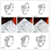 Online zu verkaufen gemischten Stil Mode weißen Edelstein 925 Silber Platte Ring EMGR20, Rose Herz vergoldet Sterling Silber Ring 10 Stück viel