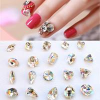 18 개 스타일 3D 네일 아트 장식 반짝이 모조 다이아몬드 유리 화염 1PC