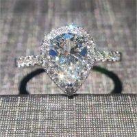 Eternal delicato a forma di pera con zaffiro bianco water-drop con gemma per le donne Classic 10KT con gioielli in oro bianco riempito