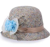 Yeni Tasarım 2016 Sıcak Satış Ucuz Güzel Yeni Moda Kadınlar Keten Çiçek Şapka Bowler Billycock Kap