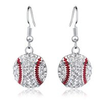 Crystal Baseball Pendant Dangle Earrings Fashion Sports Jewe...