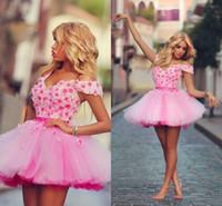 2021 sexy ballkleid kurze schulter rosa tüll blumen plus größe homecoming kleider pink rüsche plus größe cocktail kleider qualität