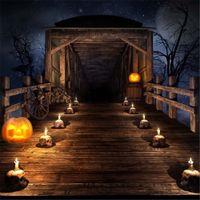 Урожай деревянного моста Хэллоуин Фото фоны Череп свечи Тыква фонарики Night Sky Stars Дети Дети Фото Фон