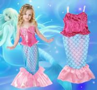 2016 дети девушки Русалка платье Русалочка Ариэль ткань девушки Принцесса косплей Хэллоуин костюм день рождения платье купальники