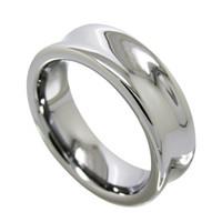Bague de doigt de mode bijoux en carbure de tungstène haute polie concave 7mm pour hommes