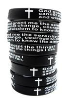 100шт Вдохновенный Английский Serenity Prayer Силиконовые браслеты Christian Мужчины крест Мода Wristbands оптовая GOD SERENITY Ювелирные Лоты