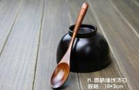 Cucharilla de café ECO Friendly Cuchara de madera natural Cuchara de madera verde con mango largo Línea de Phoebe envuelta alrededor de la cuchara de madera con agitación 18 * 3cm