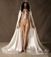 Venda quente barato Cabo nupcial Cabo de nupcial White longos cascos de casamento com cetim casamento nupcial envoltório capa nupcial