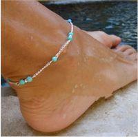 Toptan-1 Adet Benzersiz NTurquoise Boncuk Gümüş Zincir Halhal hatıra Ayak Bileği Bilezik Ayak Takı Hızlı Yeni Sıcak Moda