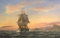 seascape ship big sail boat on ocean in sunset, Free Shippin...