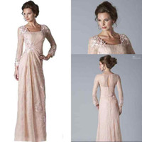2016 New Blush Pink Lace Mother Of The Bride Dresses Long Sl...