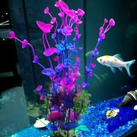 Fisch- und Schildkrötenbecken-Landschaftsgestaltungssimulations-Fälschungsplastikwasserpflanzen für purpurrotes Blattgras der Aquariumdekoration