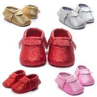 Paillettes di Natale bambino Scarpe Mocassini Morbida scarpa appena colta Tassel Toddler Prewalker Baby Morbido Nappa Mocassini di alta qualità