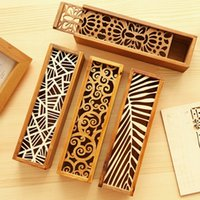 Creative Stationery Wood Lace Hollow Wooden Pencil Case Penc...